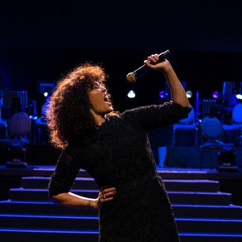 22 November 2019: Belinda Davids at the Artscape Theatre in Cape Town before performing The Greatest Love of All: A Tribute to Whitney Houston.