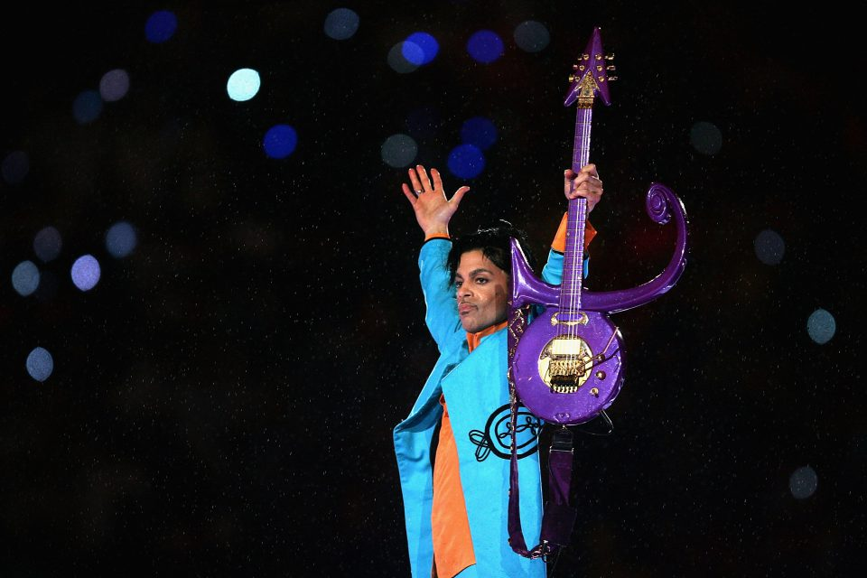 4 February 2007: Prince performing during the Pepsi Halftime Show at the Super Bowl XLI American football game between the Indianapolis Colts and the Chicago Bears at Dolphin Stadium in Miami Gardens, Florida. (Photograph by Jonathan Daniel/Getty Images)
