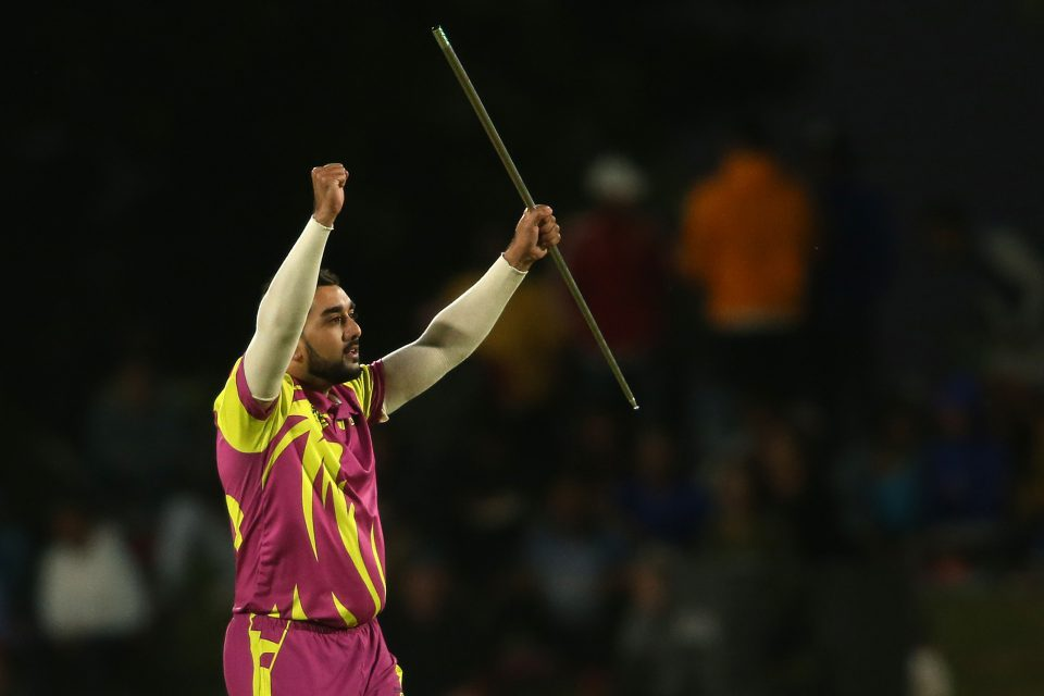 4 December 2019: Tabraiz Shamsi of the Paarl Rocks celebrates with a magic trick after taking the wicket of Durban Heat's Wihan Lubbe during a Mzansi Super League match in Paarl, South Africa. (Photograph by Shaun Roy/Gallo Images)