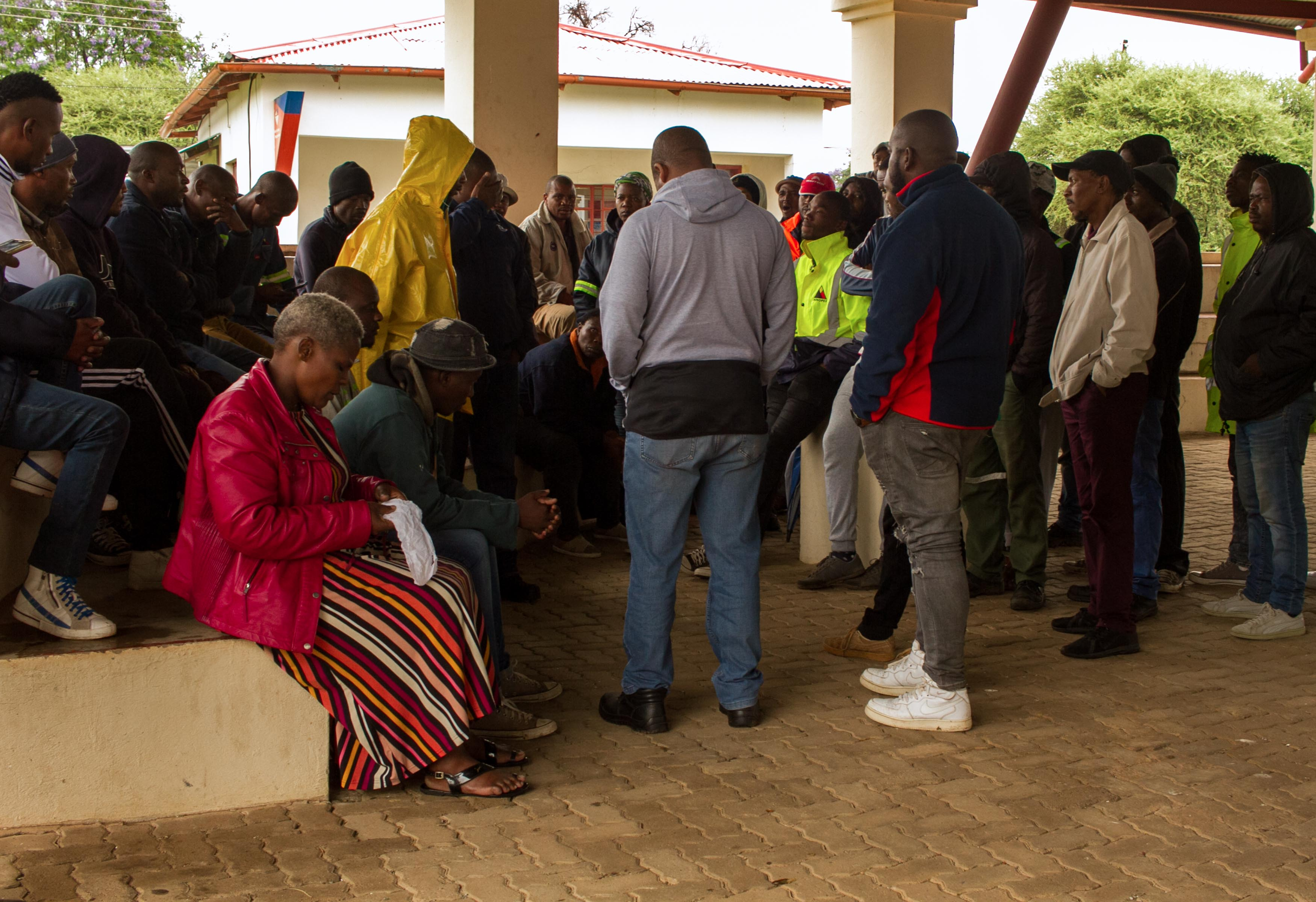 5 December 2019: Horizon Chrome mineworkers gathered at the tribal council offices to discuss a way forward regarding their concerns about being compensated by the mine.