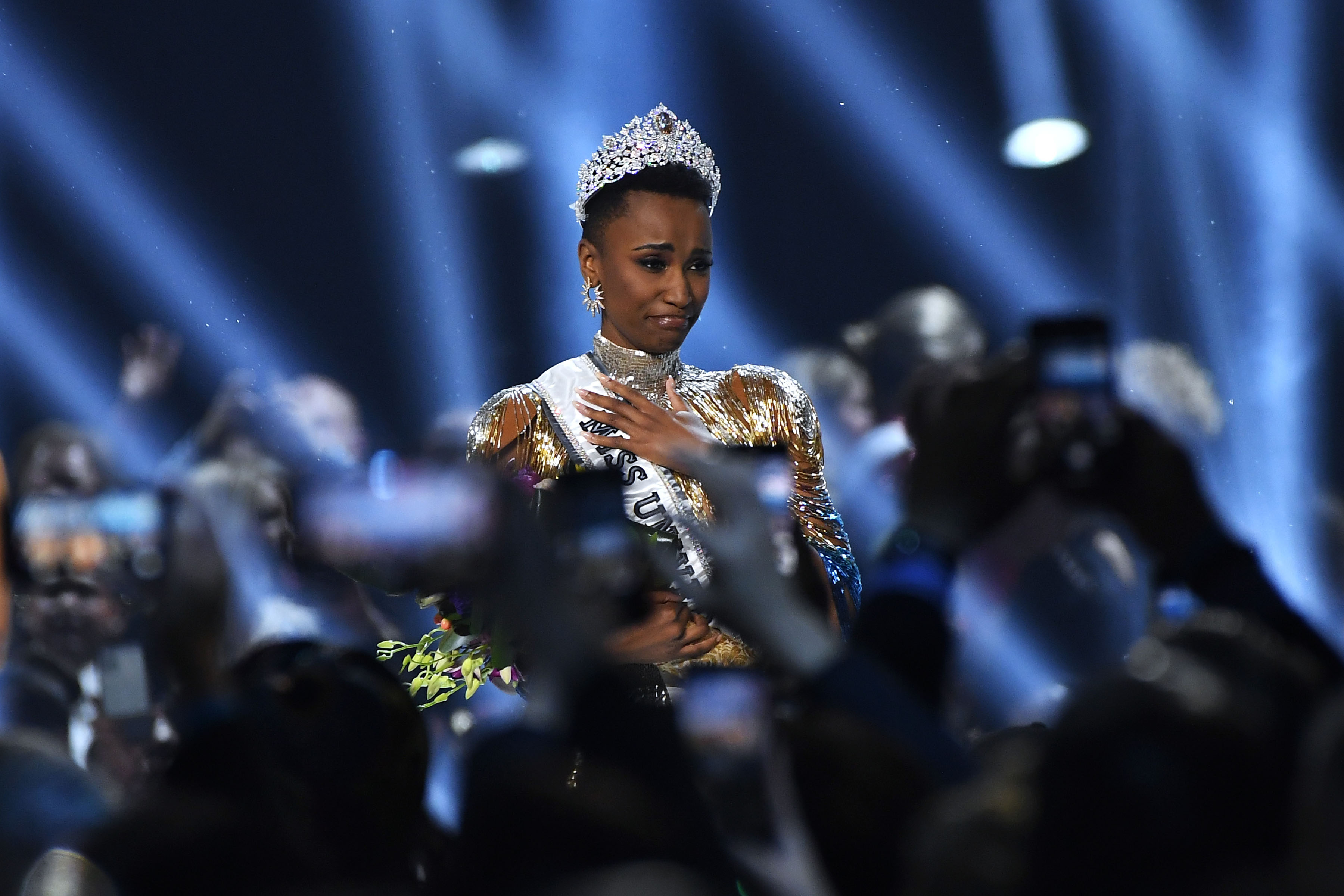 8 December 2019: South Africa's Zozibini Tunzi is crowned Miss Universe at the 2019 pageant in Atlanta, Georgia, in the United States. (Photograph by Paras Griffin/Getty Images)