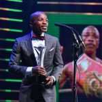 10 November 2019: Moruti Mthalane accepting his Sportsman of the Year award during the 2019 South African Sport Awards at The Playhouse Company in Durban, South Africa. (Photograph by Gallo Images/Darren Stewart)