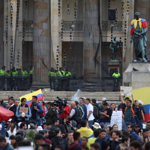 27 November 2019: Hundreds of citizens gathered in Bolivar Square in Bogota, Colombia, on the seventh consecutive day of protests against the government of President Iván Duque. (Photograph by Lokman Ilhan/Anadolu Agency via Getty Images)