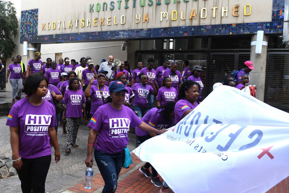 10 December 2019: Members and supporters of the Treatment Action Campaign march to the Constitutional Court to celebrate 20 years of fighting for the rights of people with HIV and Aids. (Photograph by Gallo Images/Netwerk24/Felix Dlangamandla)