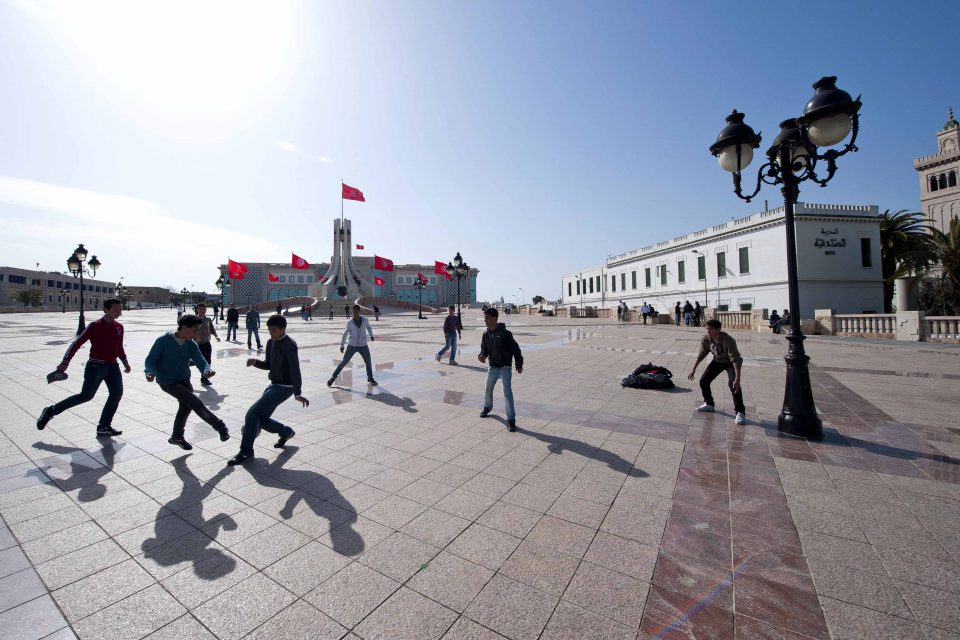 Youth in the Tunis Square of the Kasbah outside the town's city hall. (Photograph by Nicolas Fauqu/Corbis via Getty Images)
