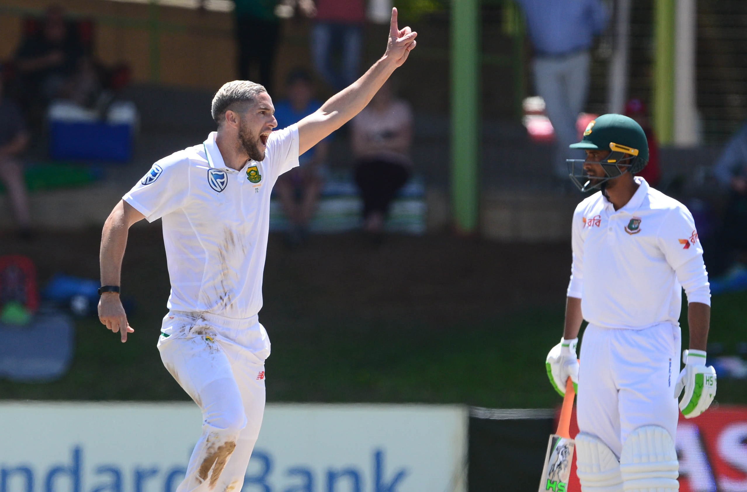 8 October 2017: Left-arm seamer Wayne Parnell celebrates the wicket of Mushfiqur Rahim on day three of the Proteas' second Sunfoil Test match against Bangladesh at Mangaung Oval in Bloemfontein, South Africa. (Photograph by Lee Warren/Gallo Images/Getty Images)