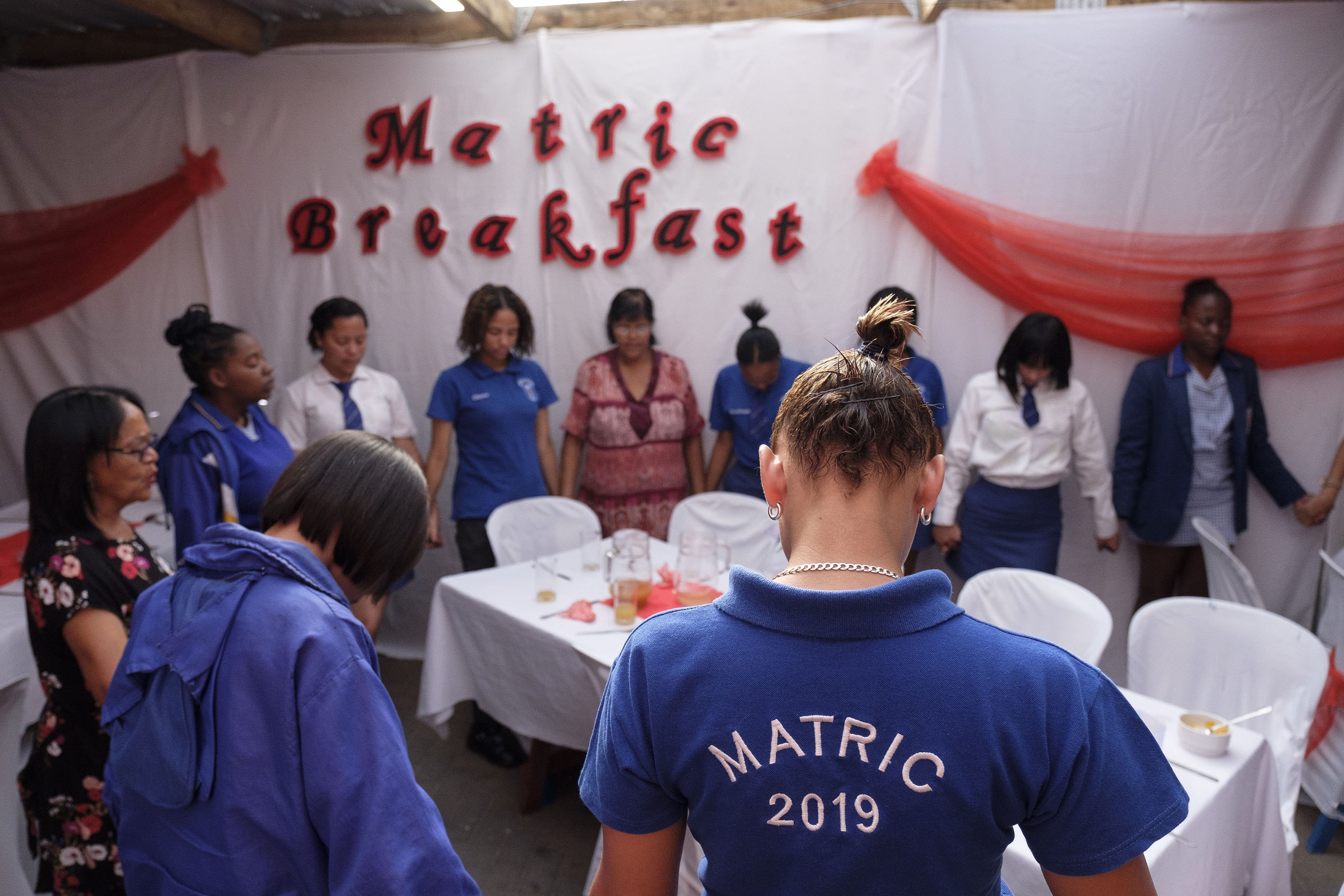 22 November 2019: The morning group prays together, each day after breakfast, before heading to school to write exams.