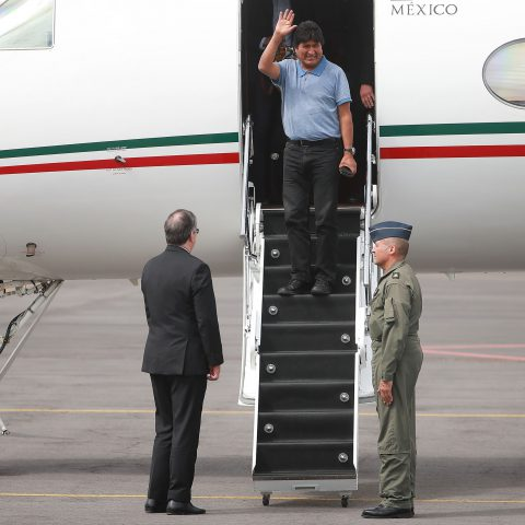 12 November 2019: Former Bolivian president Evo Morales arriving in Mexico City after accepting the political asylum granted by the Mexican government, which has a history of giving sanctuary to left-wing activists. (Photograph by Hector Vivas/Getty Images)