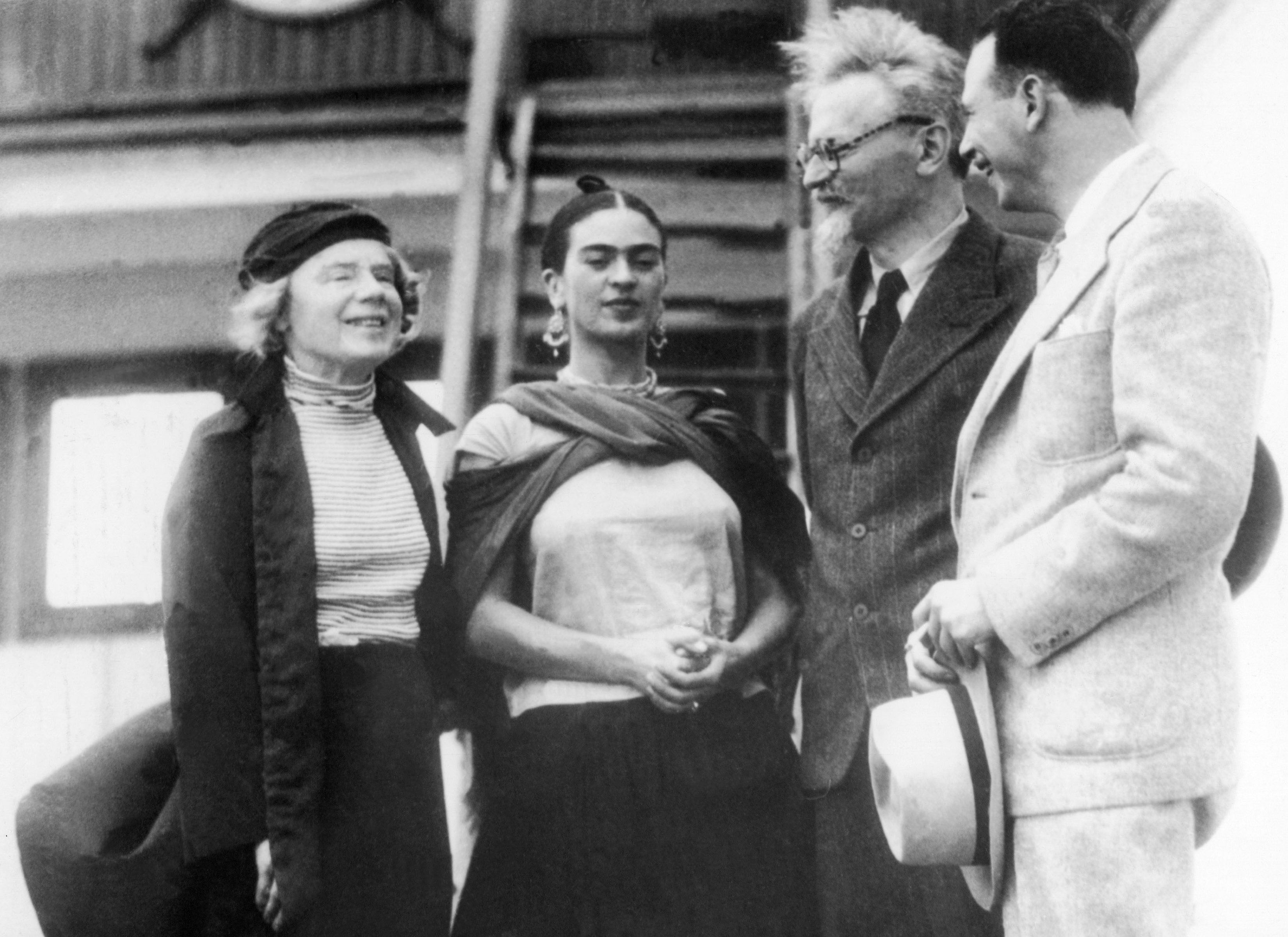 9 January 1937: Russian Marxist Leon Trotsky (second from right) and his wife, Natalia Sedova (far left), are greeted by Mexican painter Frida Kahlo and Polish-born Marxist Max Shachtman in Tampico, Mexico, after being deported from Norway. (Photograph by Keystone-France/Gamma-Keystone via Getty Images)
