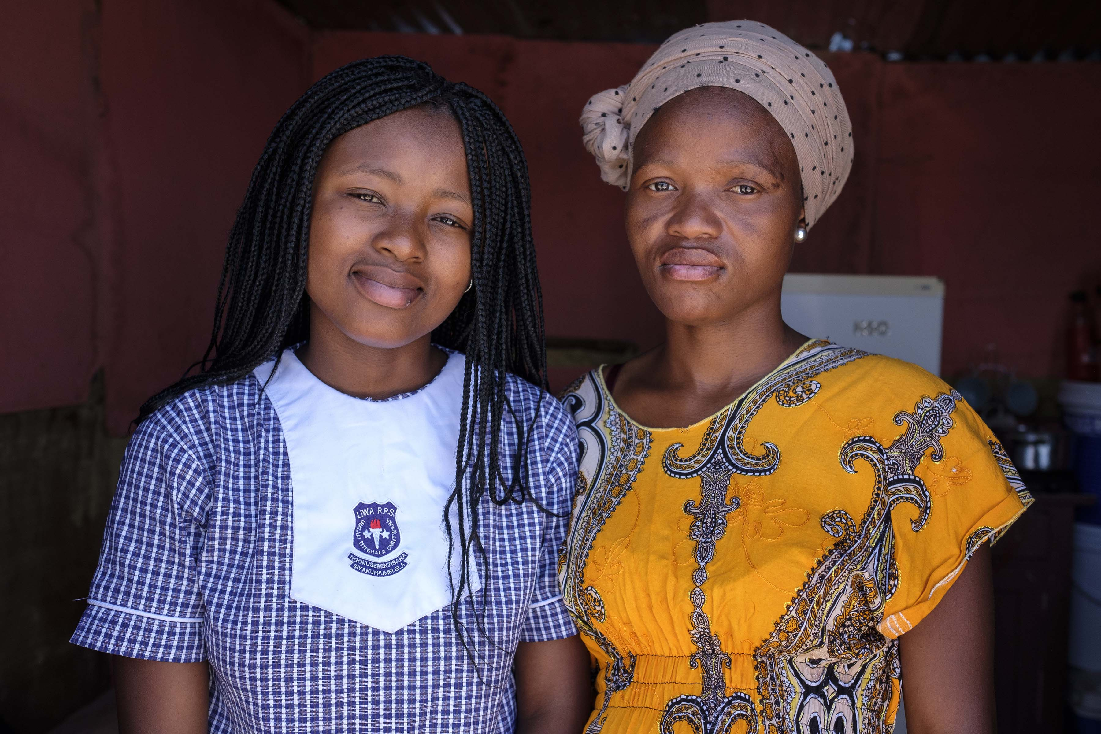25 November 2019: Unamandla Nontswabo, who is putting her community into the international spotlight with her spelling skills, and her mother Nomsa Mqaleni.