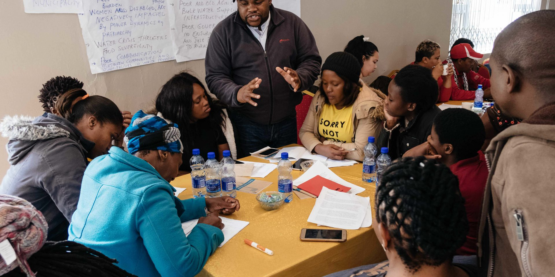 12 November 2019: Activists at the Water Crisis workshop held in East London to identify the region's water problems and discuss ways to deal with them.