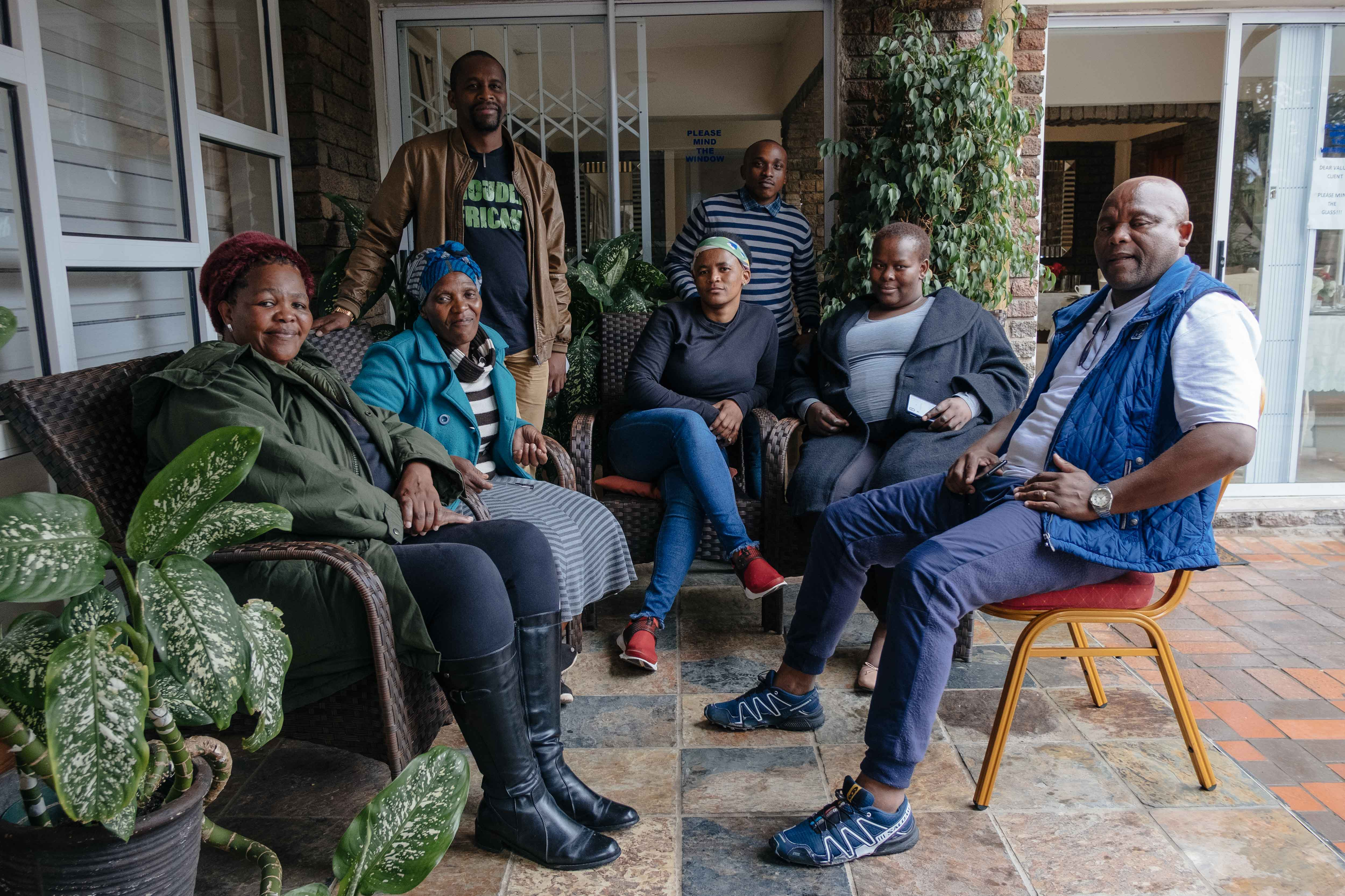 11 November 2019: Community leaders at the water crisis workshop, from left, Nokuzola Bulana, Cynthia JamJam, Mthandazo Ndlovu, Nonkozo Hlaziya, Siphelele Mcetywa, Govana Yanga and Xolani Ngxatu.