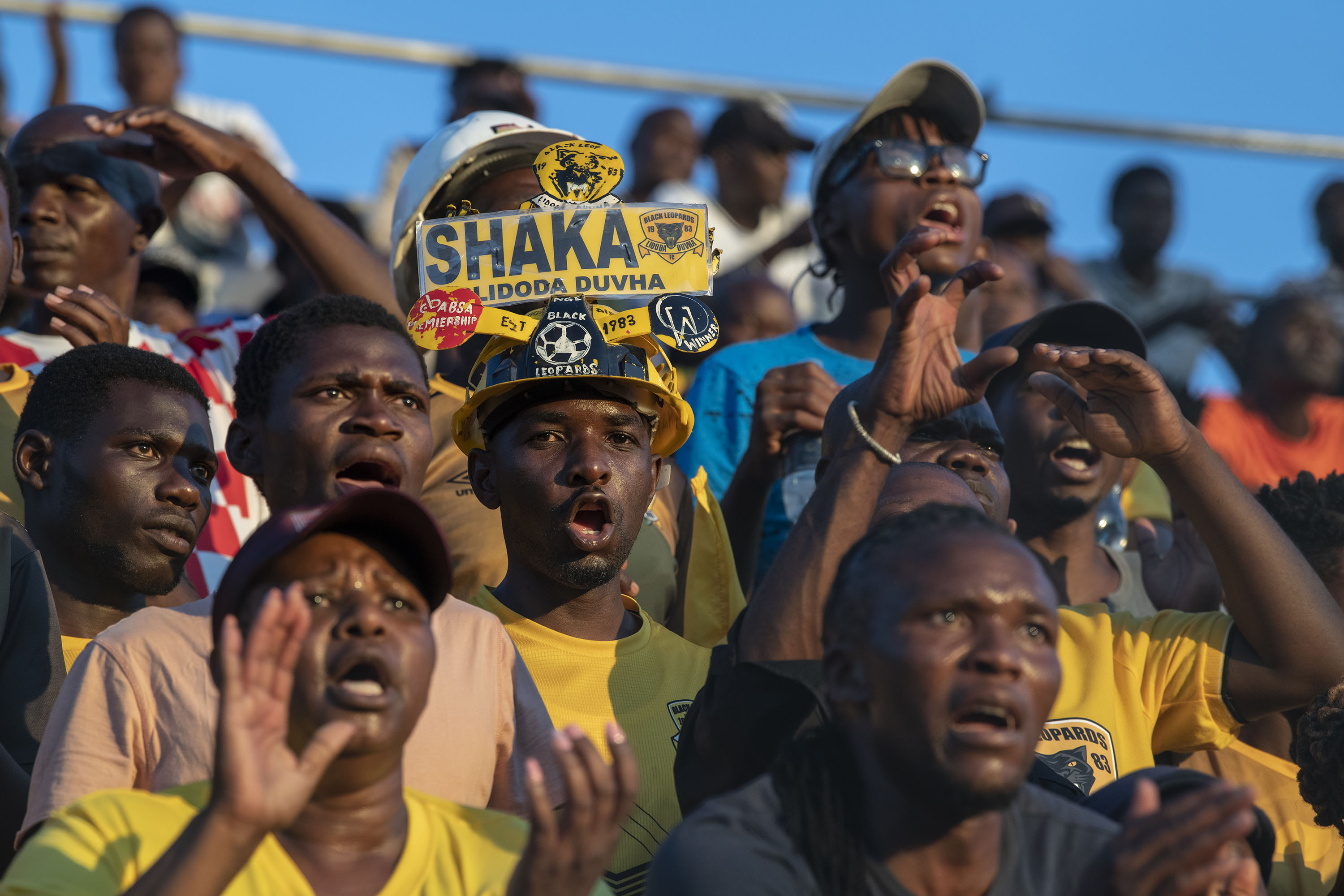 30 November 2019: (Centre) Black Leopards supporter Lithole Shaka has been attending games since he was a young boy.