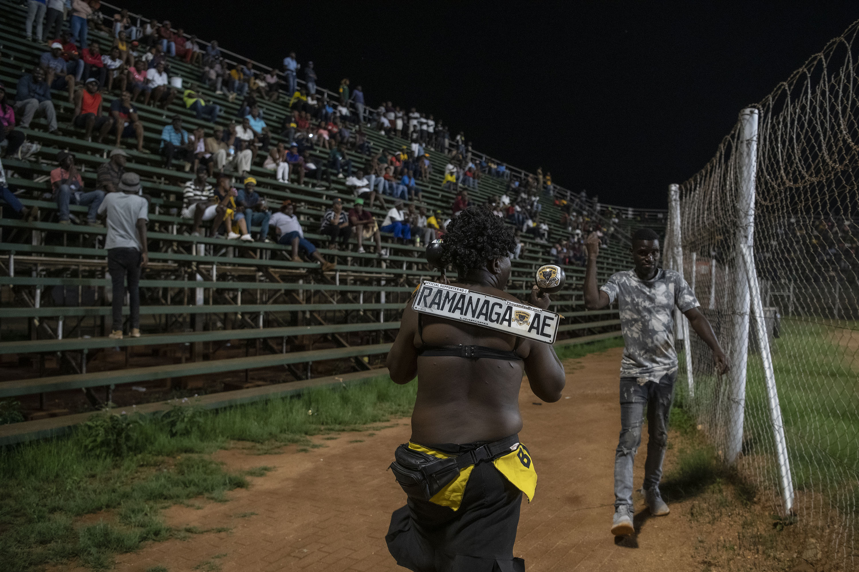 30 November 2019: A die-hard Black Leopards supporter who goes by the name of Ramananga paced up and down for the duration of the game, cajoling the players with a wood shaker.