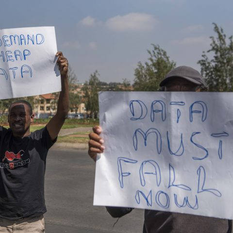 19 September 2017: Right2Know supporters picketing outside Vodacom's headquarters in Midrand, Gauteng, during the #DataMustFall protest. They were demanding that data and airtime be affordable for all. (Photograph by Gallo Images/Alet Pretorius)