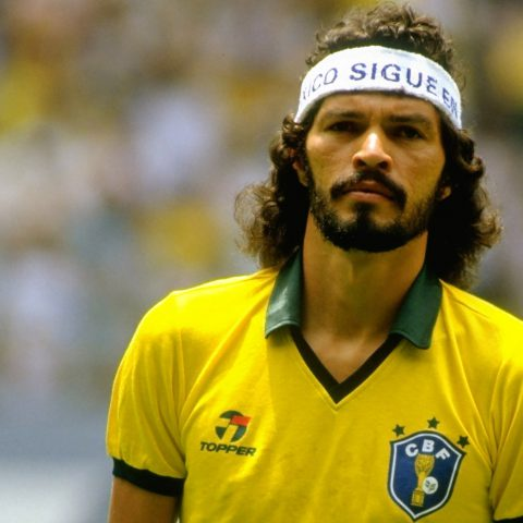 1 June 1986: Sócrates before Brazil's 1-0 World Cup win against Spain at the Jalisco Stadium in Guadalajara, Mexico. The footballer often wore headbands bearing political messages when he played. (Photograph by David Cannon/Allsport)