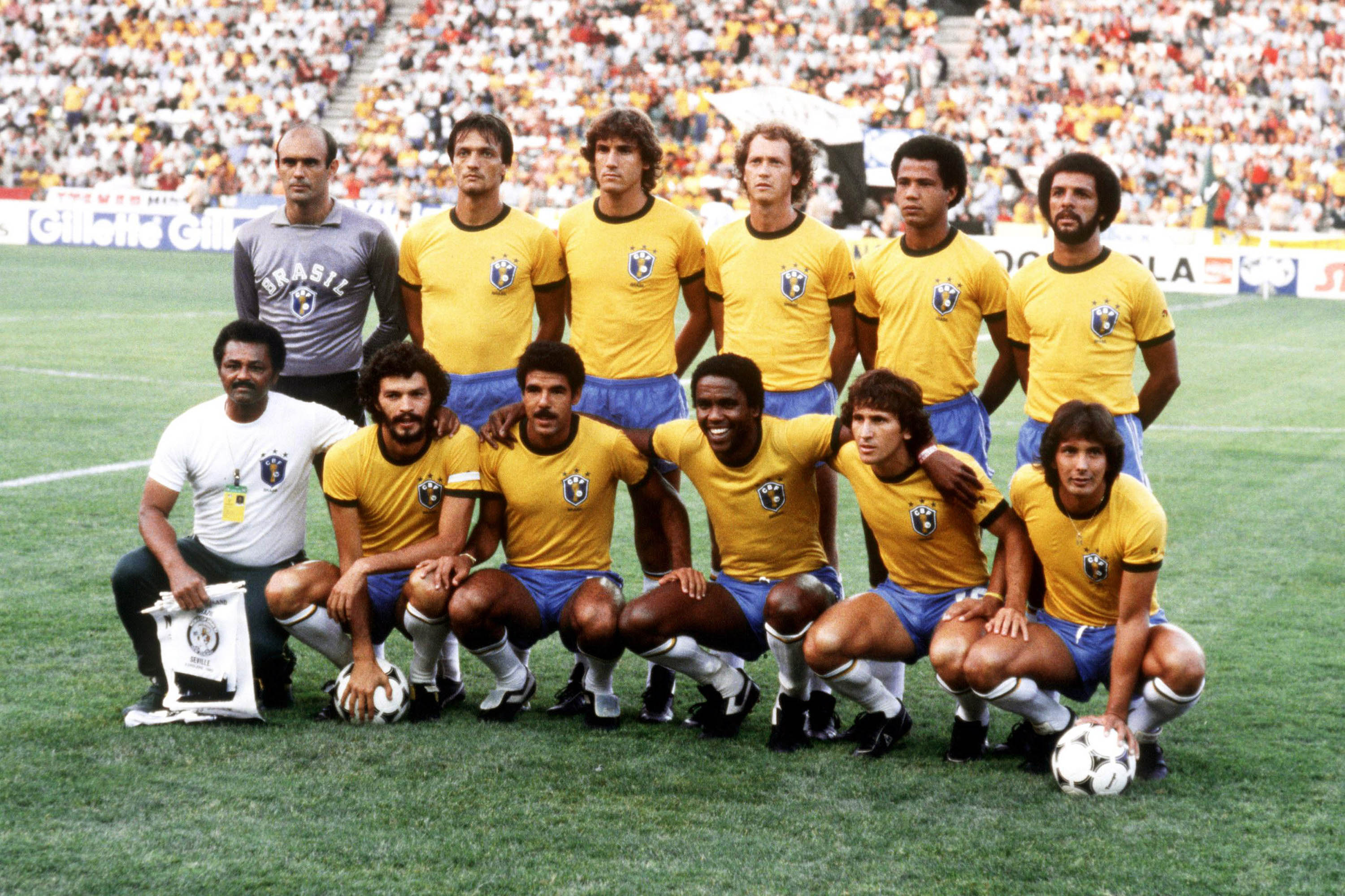 June 1986: The best Brazilian team never to have won a World Cup. Sócrates (bottom, second from left) captained this star-studded national team. (Photograph by Peter Robinson/Getty Images)