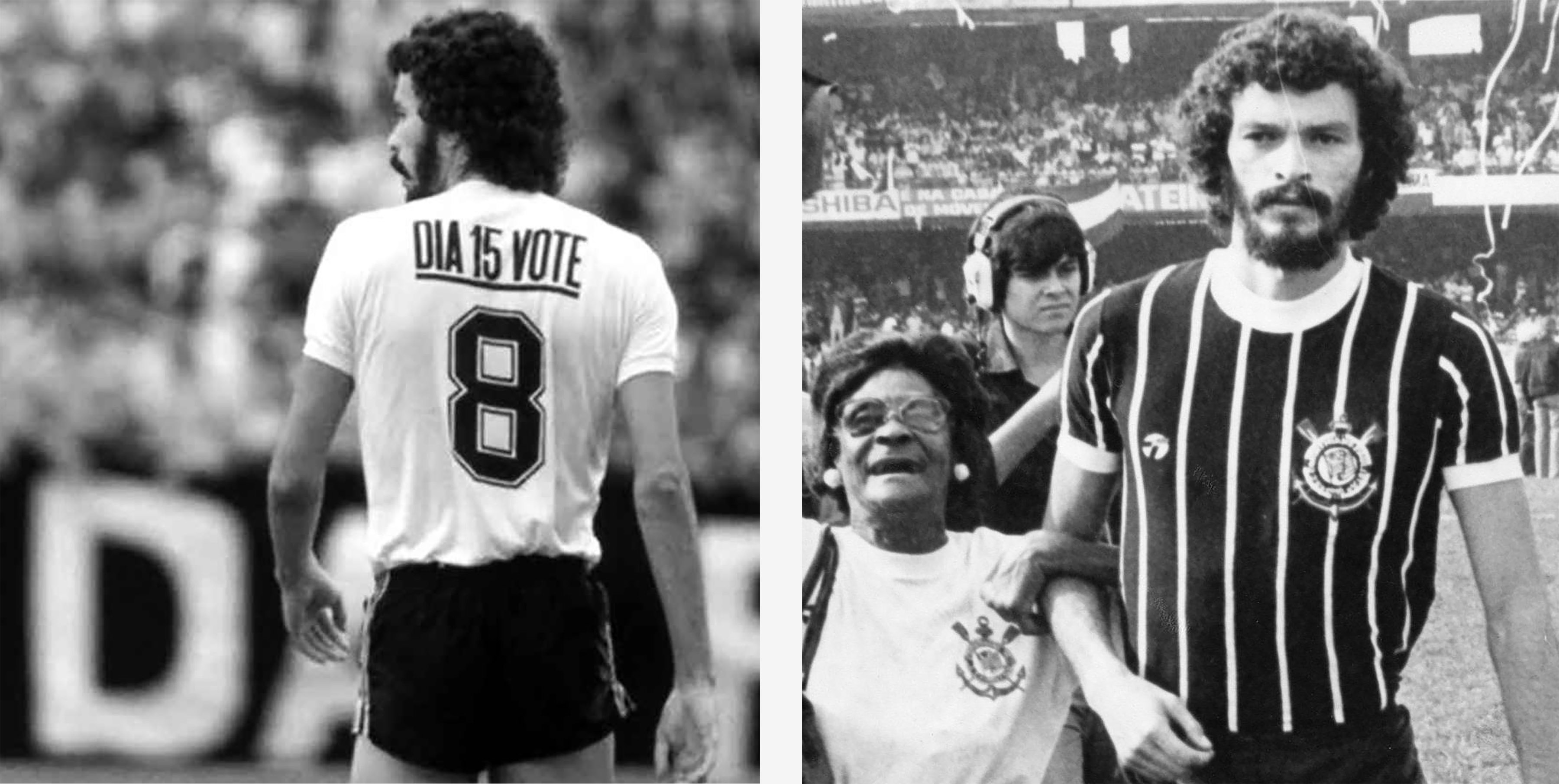(Left) Sócrates wearing his iconic No. 8 Corinthians shirt with a message encouraging fans to vote. (Right) A fan links arms with Sócrates after a Corinthians game. (Photographs by Getty Images)