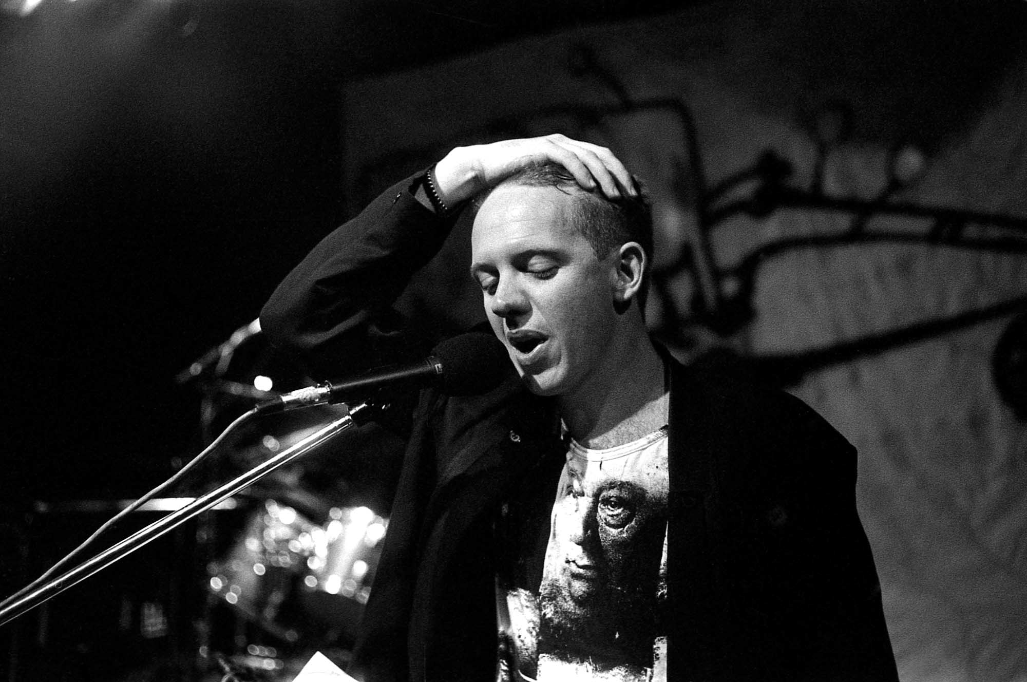 1989: Ralph Rabie, known by his performing name of Johannes Kerkorrel, on stage at the Warehouse at the Market Theatre in Johannesburg. Rabie took his own life in 2002.