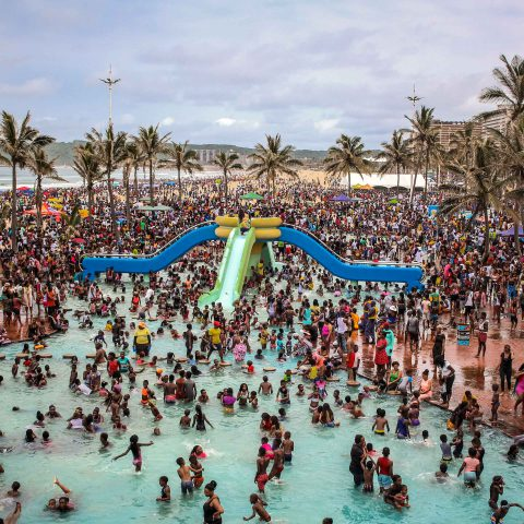 1 January 2020: Families enjoying New Year's Day at Durban's South Beach. (Photograph by Mlungisi Mbele)