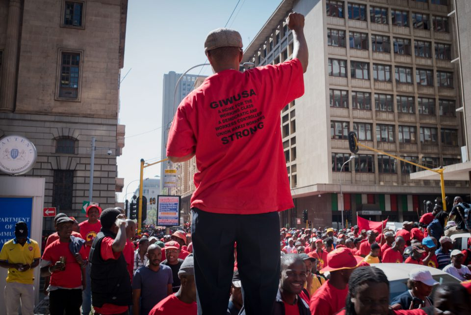 25 April 2018: Saftu members protest the proposed minimum wage. Support for Jacob Zuma and corruption have weakened the standing of unions.