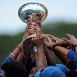 26 August 2012: India lifting the ICC Under-19 Cricket World Cup trophy after beating Australia in Townsville, Queensland. India beat Australia again in the 2018 final, played in Mount Maunganui, New Zealand. (Photograph by Matt Roberts/Getty Images)