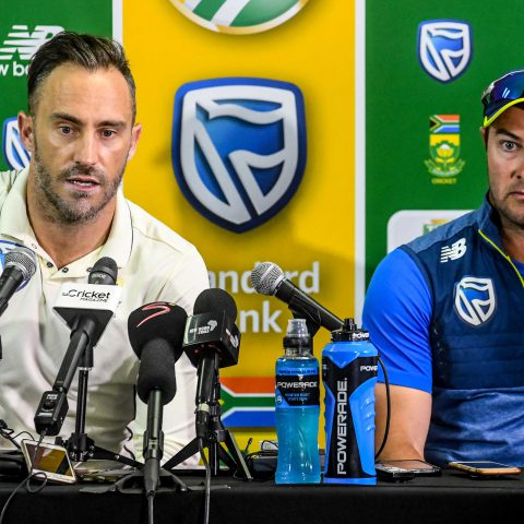 29 December 2019: From left: Proteas captain Faf du Plessis and coach Mark Boucher during the first Test of the series between South Africa and England in Centurion. South Africa went on to win by 107 runs.