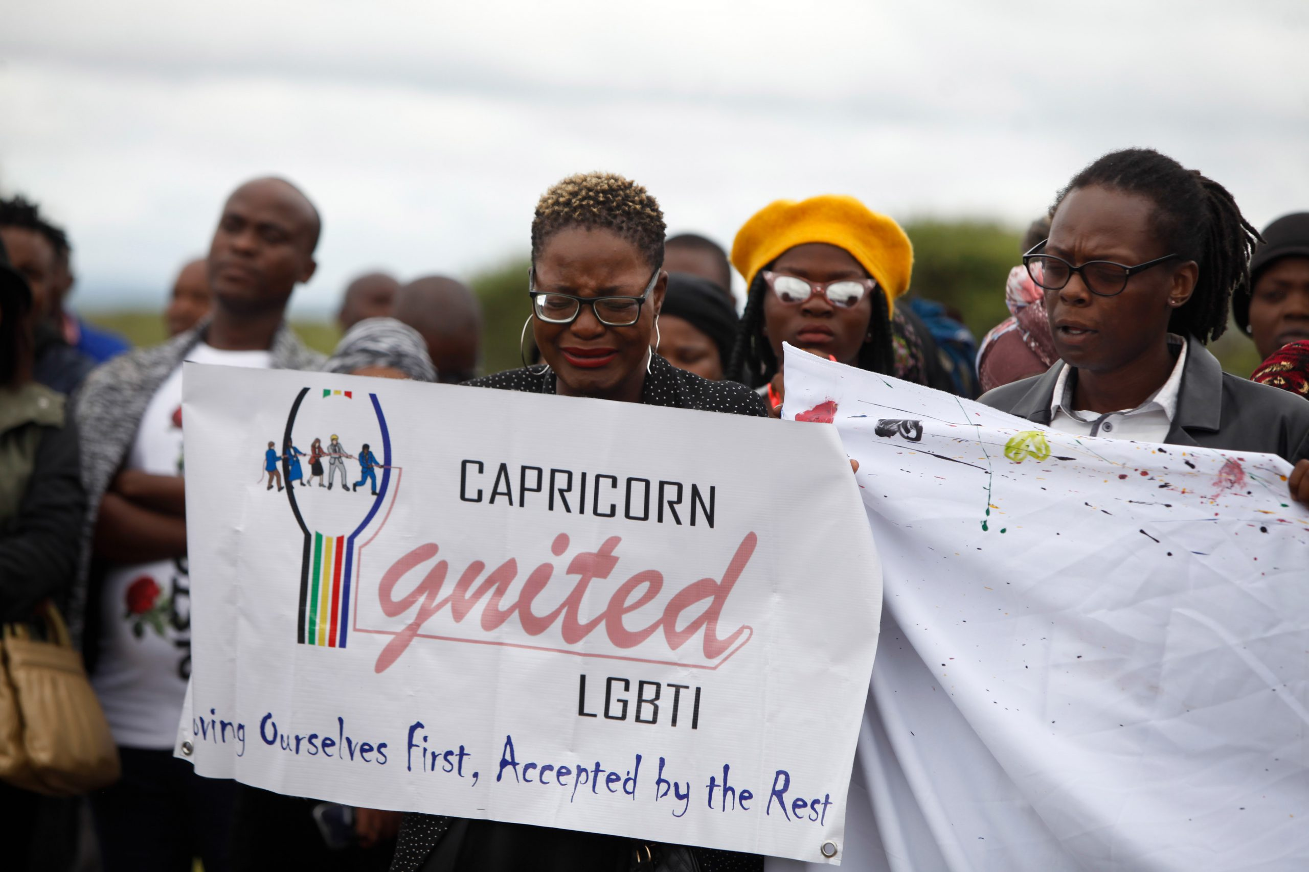 11 January 2020: LGBTQIA+ community members held up signs and banners condemning the brutal violence of Nare Mphela's murder.