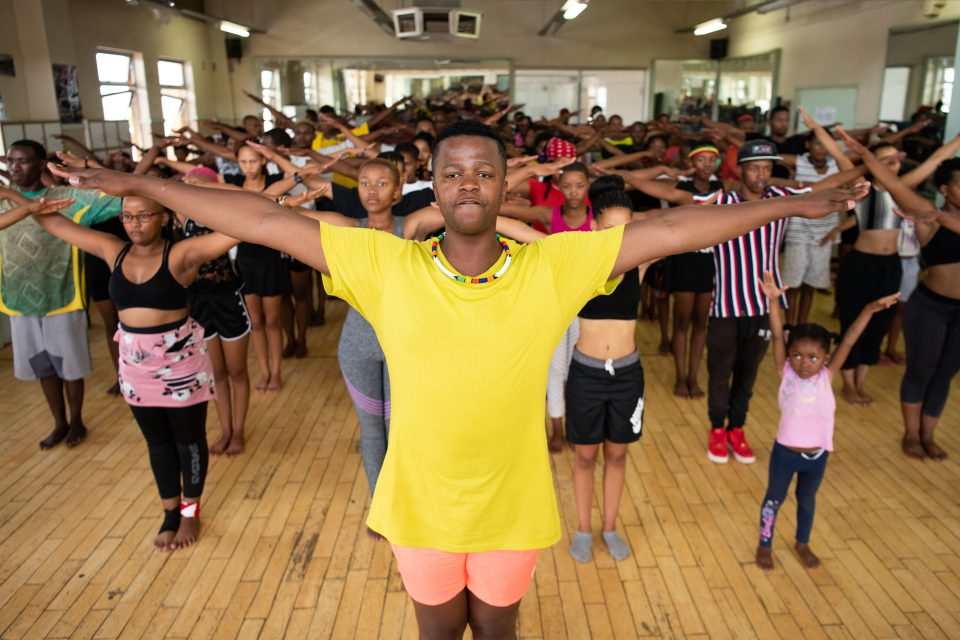 10 January 2020: Monwabisi Bangiwe leads his young dancers from Kimberley and surrounding townships in rehearsing the Tsutsube dance, which they will perform at the opening ceremony of the Under-19 Cricket World Cup on 17 January.