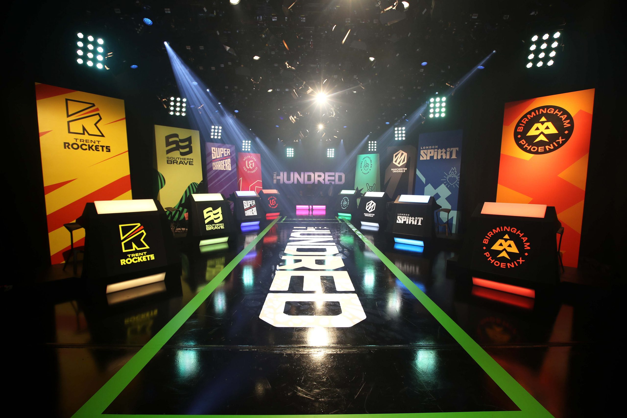 20 October 2019: The Sky Studios broadcasting studio in Isleworth, England, ahead of The Hundred draft for the men's teams. The new cricket tournament features eight teams, each with a squad of 15 men and 15 women.