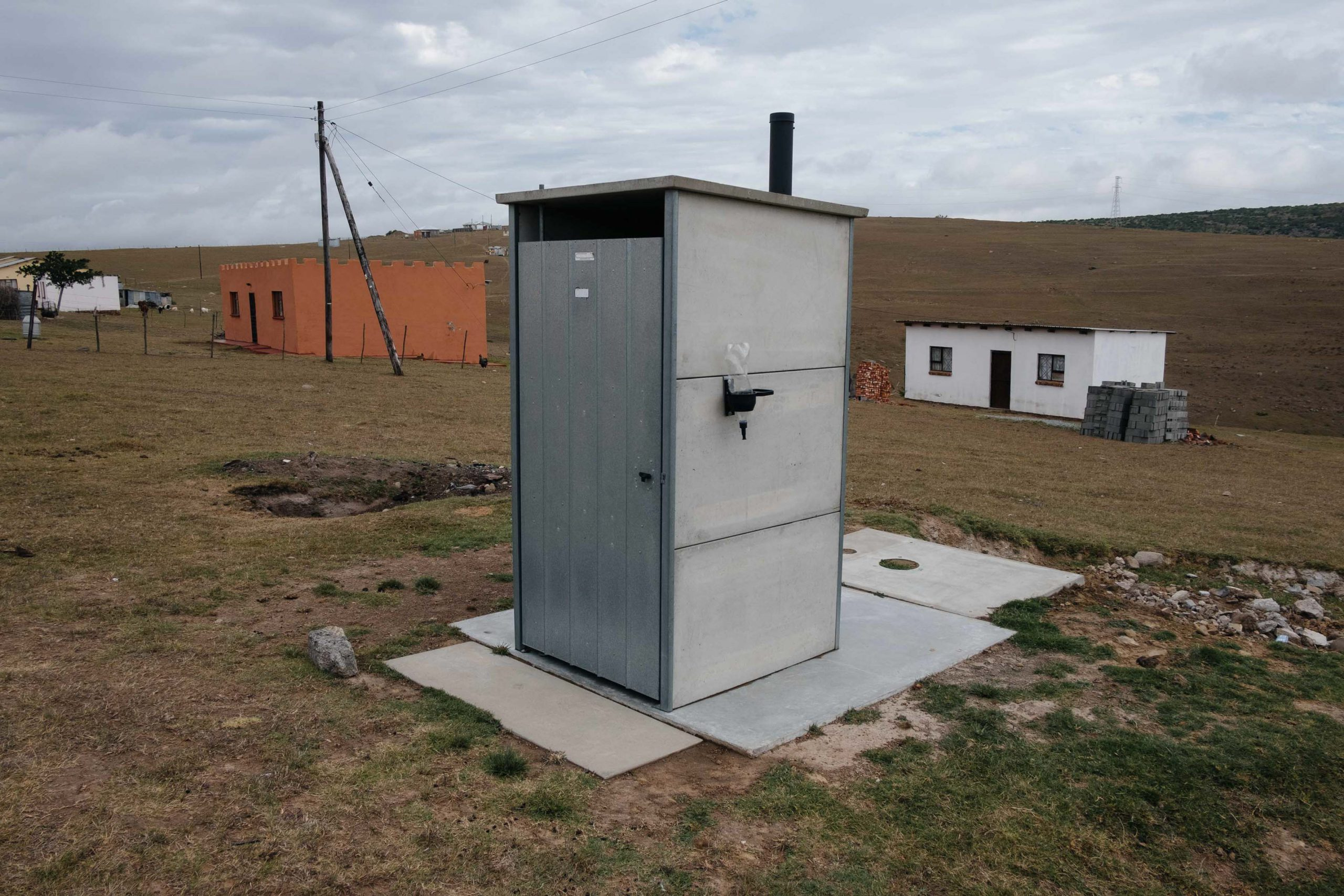 10 November 2019: A new pit latrine at Ngqwele Village in Ngqushwa Municipality, Eastern Cape. The toilets require no running water, helping to alleviate pressure on municipal water supplies.
