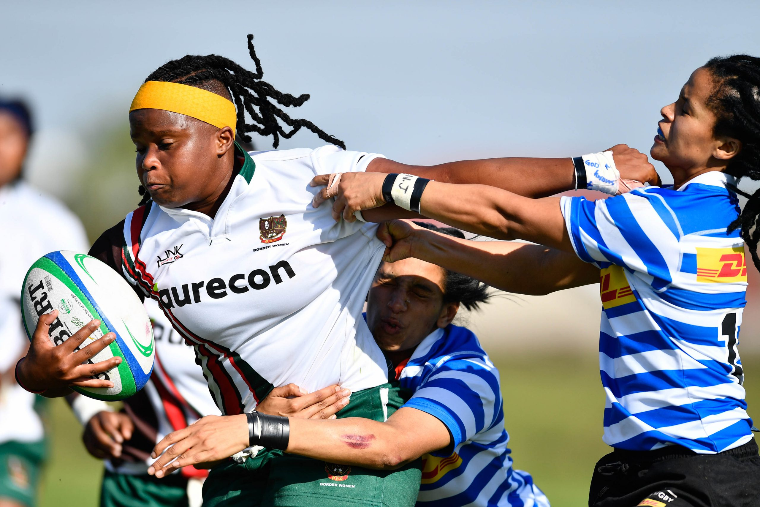7 September 2019: Chuma Qawe of Border tackled by Kimico Shaunese Manuel and Felicia Jacobs of Western Province during the Women's Interprovincial A section final match. (Photograph by Ashley Vlotman/Gallo Images)