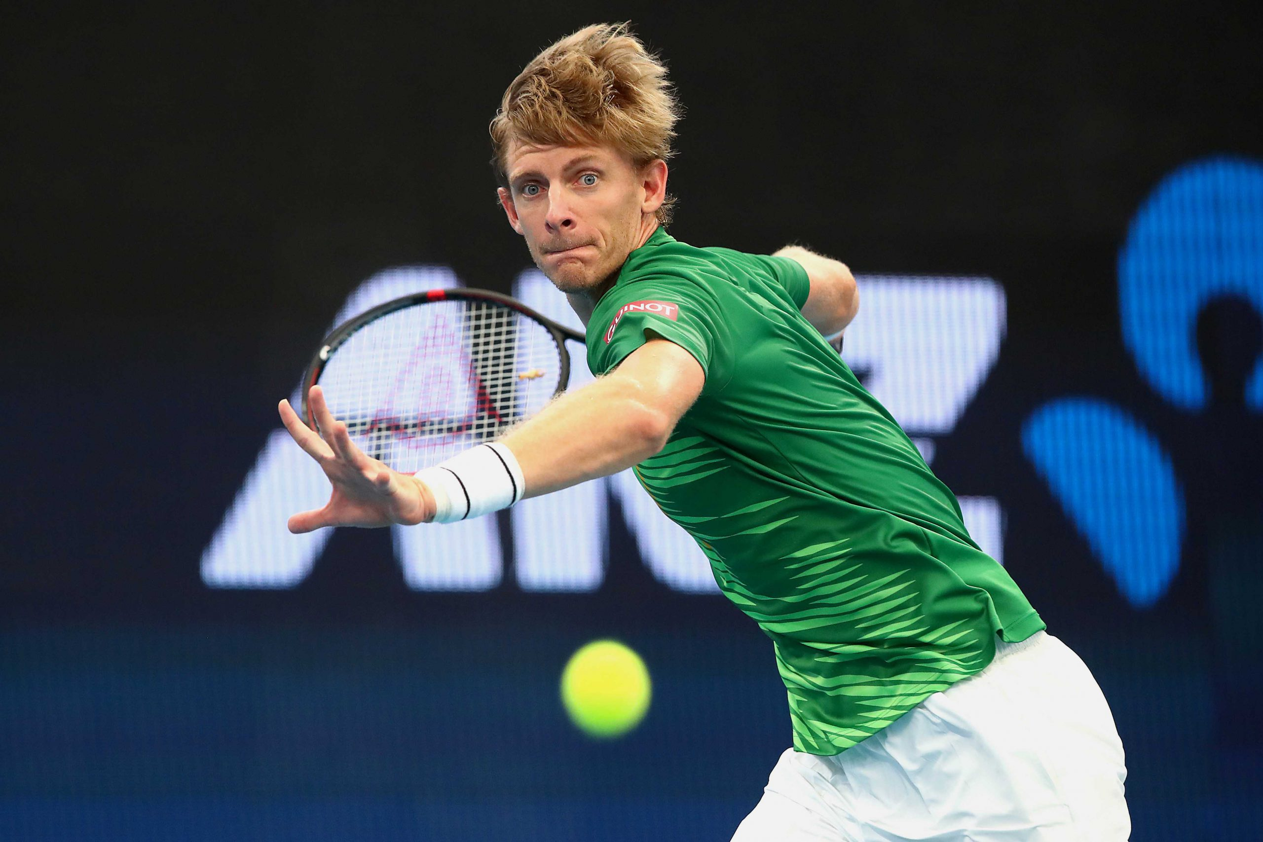 6 January 2020: Kevin Anderson of South Africa moves into a forehand during his match against Cristian Garin of Chile on day four of the 2020 ATP Cup Group Stage at the Pat Rafter Arena in Brisbane, Australia.