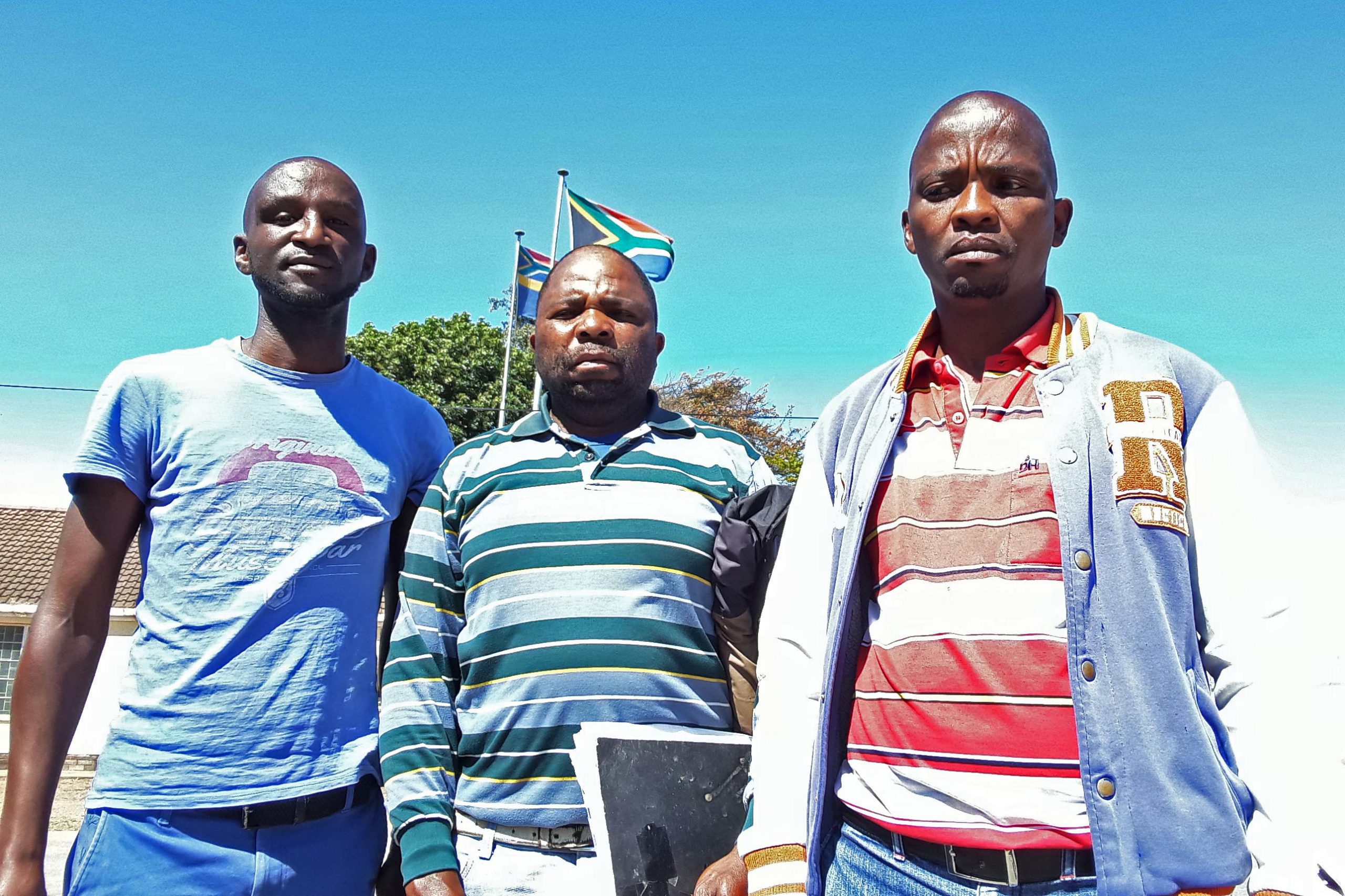 20 January 2020: From left, Kwazi Khumalo, Uzebekile Mani and Simphiwe Kwazi, steel workers who are taking a Nelson Mandela Bay company, Harlinco, to the Labour Court for unfair dismissal.