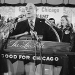 25 February 1975: The mayor of Chicago, Richard J Daley, is cheered by his number one fan, Mrs Daley (left), as he begins his victory speech at his campaign headquarters in downtown Chicago.
