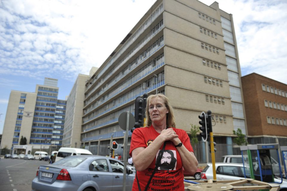 27 November 2013: Elizabeth Floyd at the former John Vorster Square police station in Johannesburg. As Neil Aggett's partner, she has been giving evidence at the reopened inquest into his death at this station in 1982.