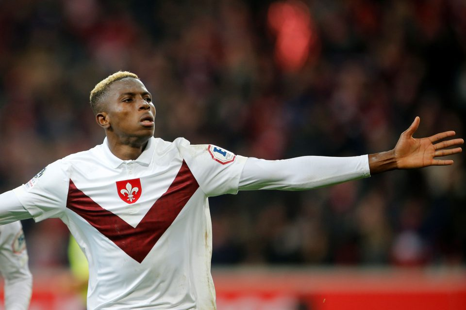 30 November 2019: Lille's Victor Osimhen celebrates scoring against Dijon in their Ligue 1 game at the Stade Pierre-Mauroy in Lille, France.