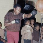 "27 March 1976: South Africa's lightweight and junior welterweight champion Norman ""Pangaman"" Sekgapane at a gym in what was then the Transvaal."