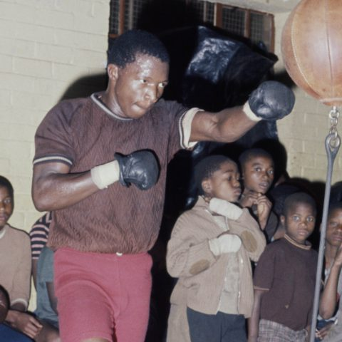 """27 March 1976: South Africa's lightweight and junior welterweight champion Norman """"Pangaman"""" Sekgapane at a gym in what was then the Transvaal."""