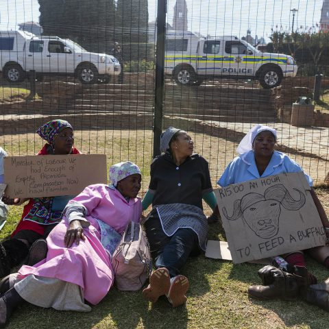 17 June 2019: Domestic workers marched to the Union Buildings in Tshwane to protest unfair labour practices and low pay. The police denied them access and no one accepted their memorandum of demands. (Photograph by Ihsaan Haffejee)