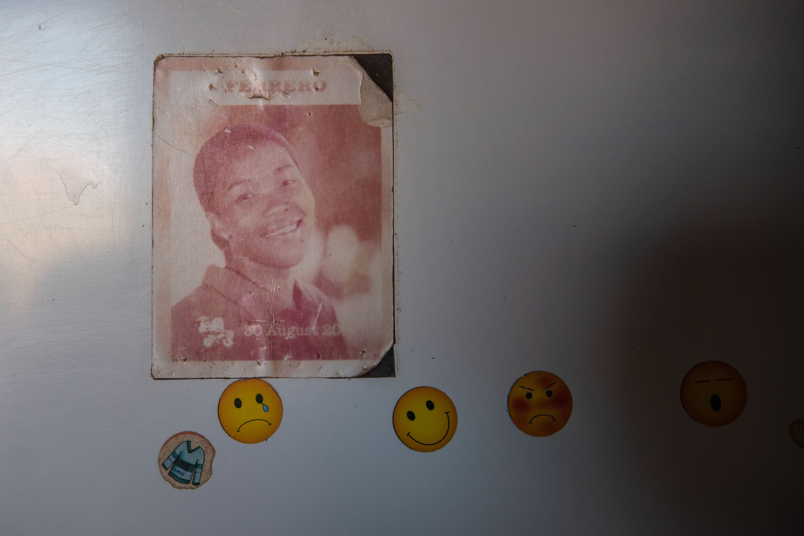 22 January 2020: A fridge magnet with a picture of Sthembile Ntshangase from happier days at the Ferrero factory.