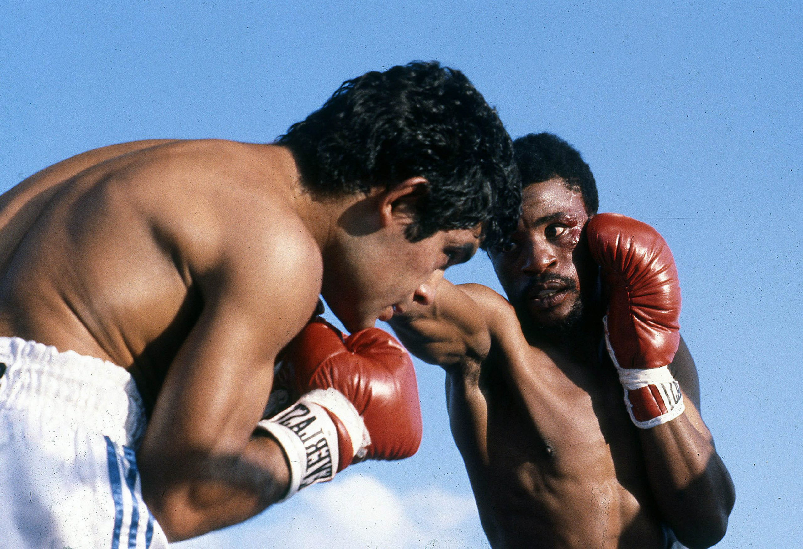 Undated: Santos Laciar of Argentina and Peter Mathebula of South Africa during their bout in Soweto. (Photograph by Wessel Oosthuizen/Gallo Images)