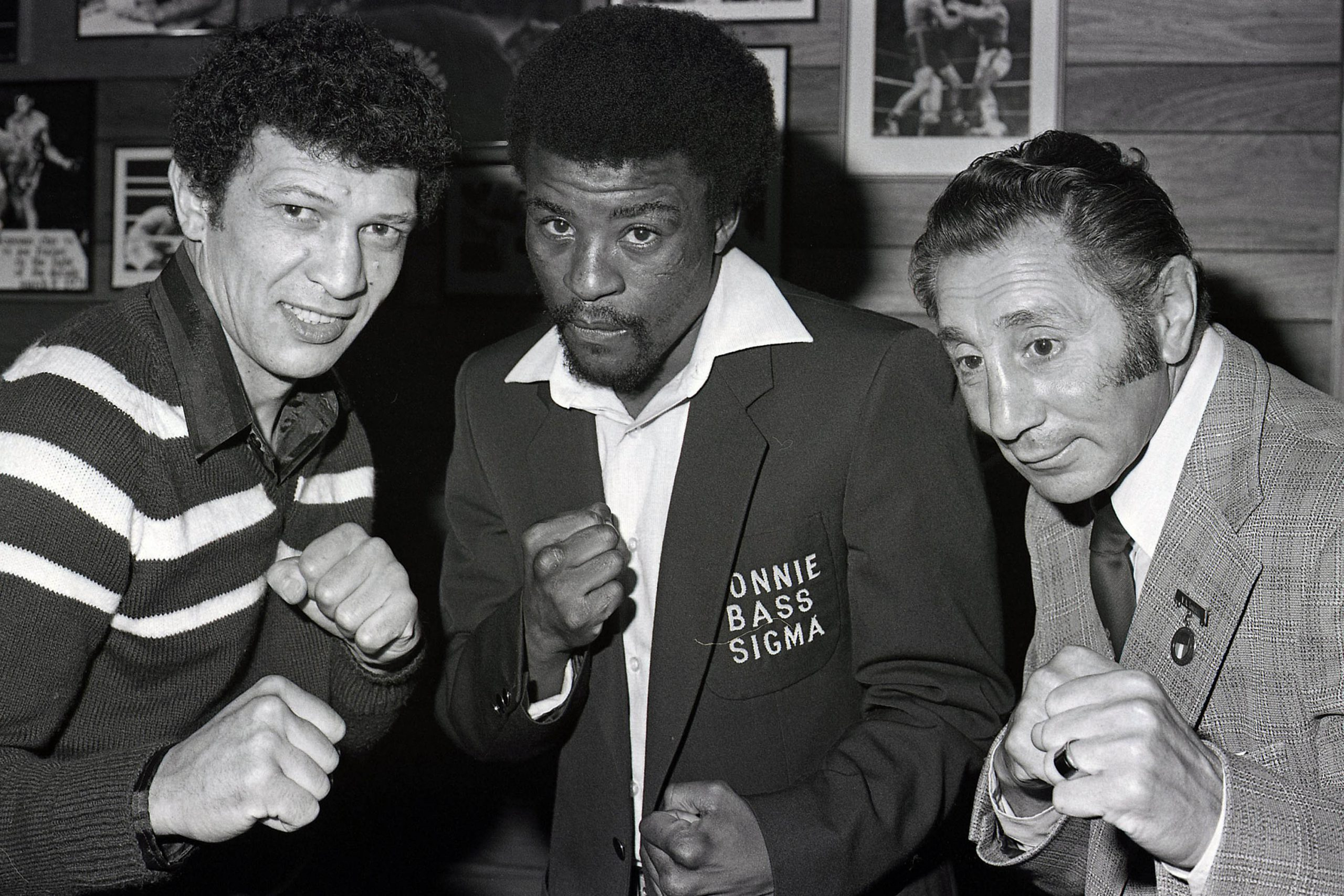 Undated: From left, boxers Arnold Taylor, Peter Mathebula and Vic Toweel during a sports event in South Africa. (Photograph by Wessel Oosthuizen/Gallo Images)