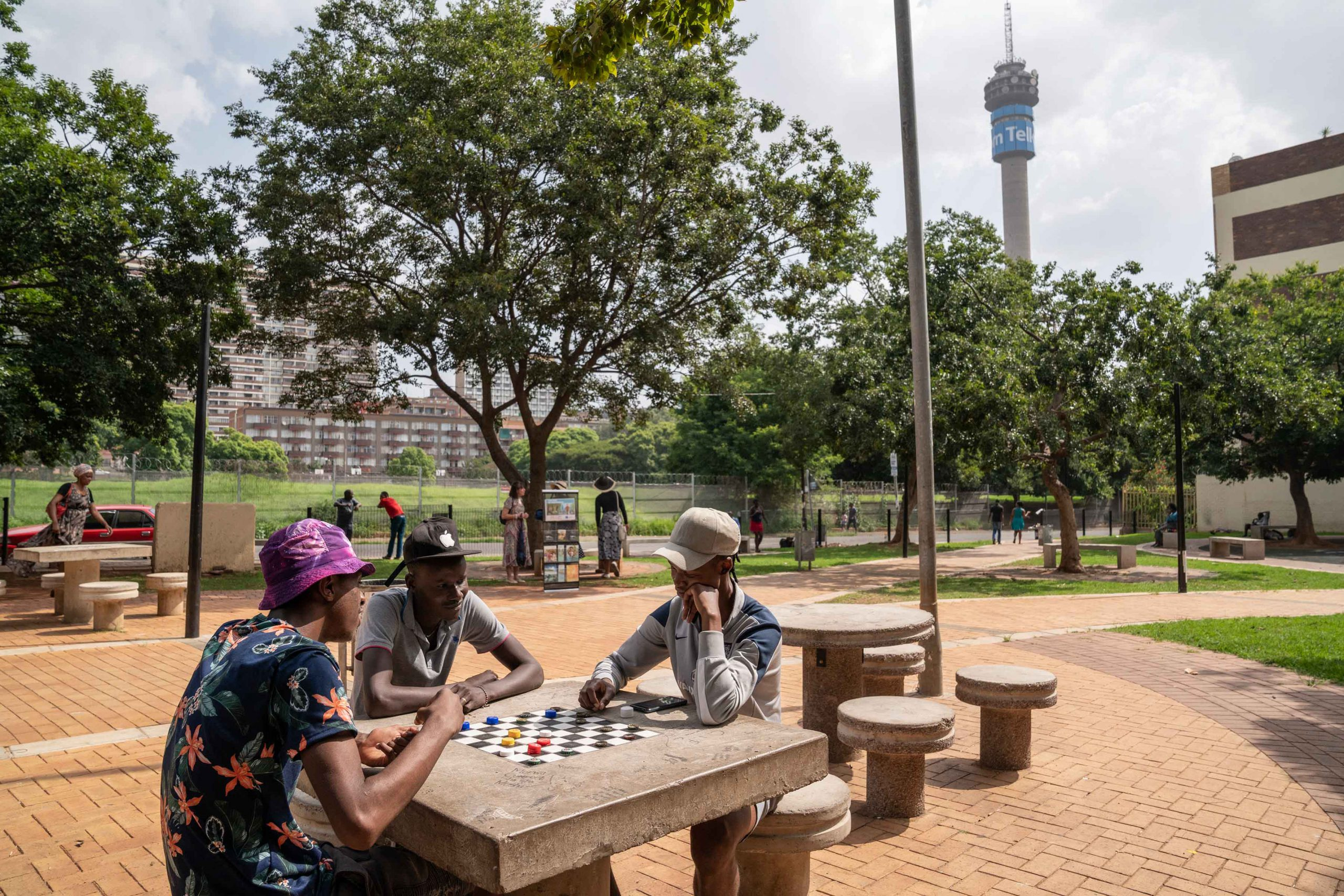15 January 2020: A game of draughts being played with bottle tops at Barnato Park in the Johannesburg suburb of Berea.
