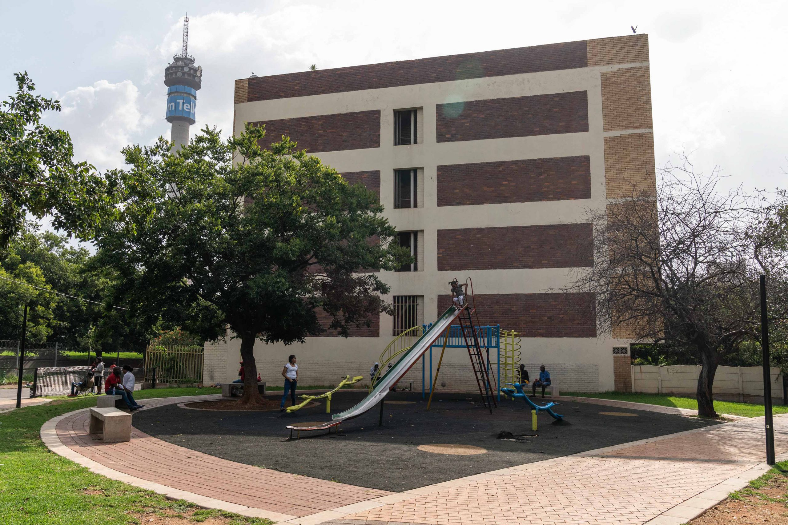 15 January 2020: Some of the children's recreational facilities at Barnato Park, with the Hillbrow tower in the background.