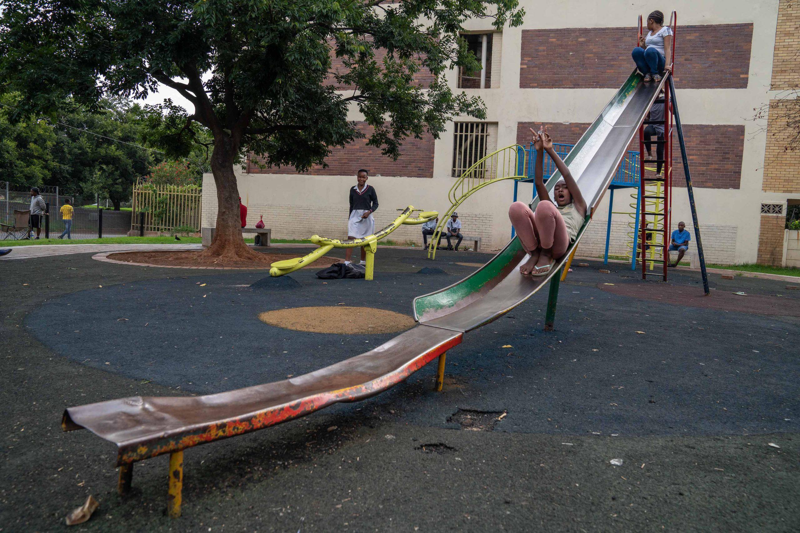 15 January 2020: Children taking a ride on the Barnato Park slide.