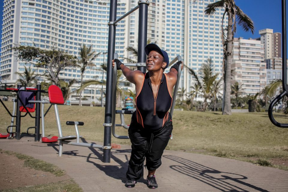 16 January 2020: Melinda Dust maintains her body by exercising at an outdoor gym every morning during the week.