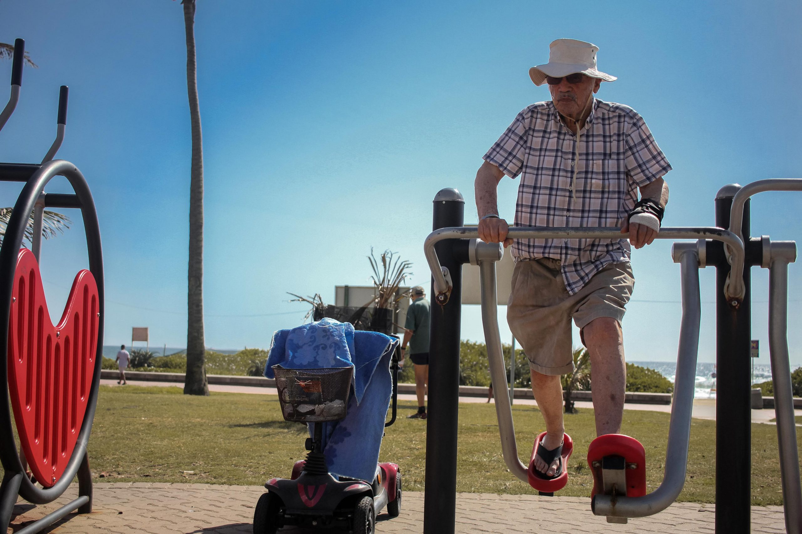 16 January 2020: Paul Jacobs is a pensioner who lives in Durban North and uses the nearby outdoor gym to keep fit.