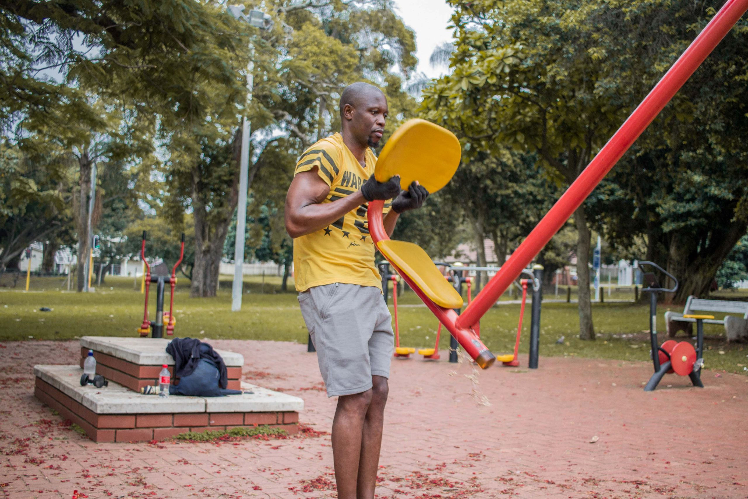 9 December 2019: Steven Mbobo lives in Morningside and finds the outdoor gym more enjoyable than a commercial gym.