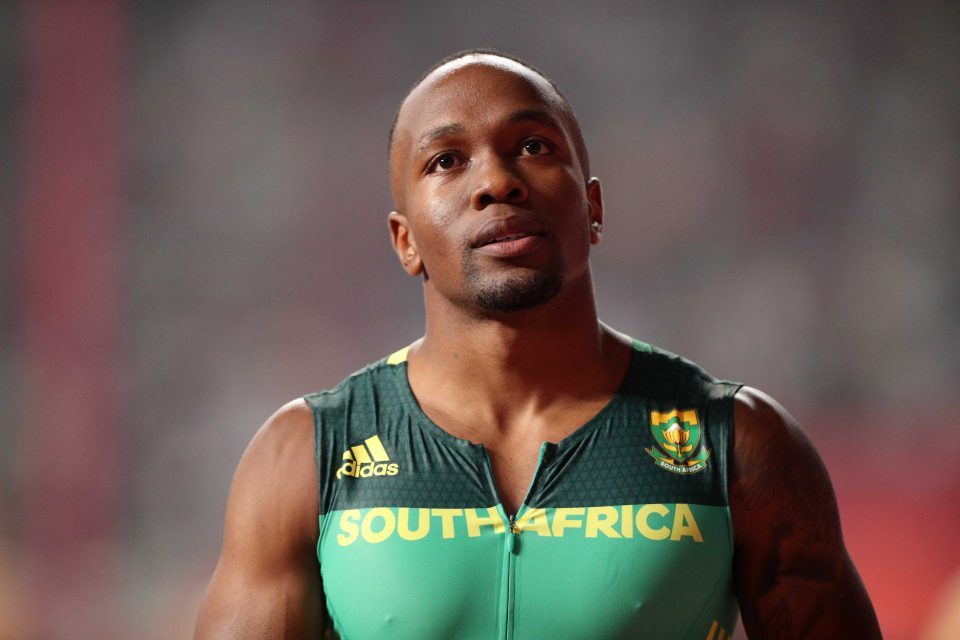 4 October 2019: South African sprinter Akani Simbine celebrates winning the second men's 4x100m relay heat at the World Athletics Championships at the Khalifa International Stadium in Doha, Qatar. (Photograph by Reuters/Hannah Mckay)